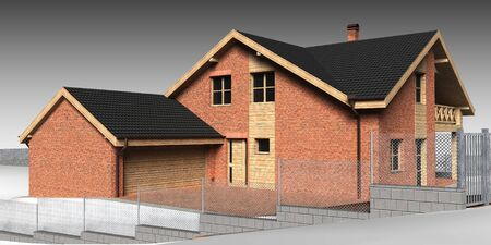 Large family house render on grey backround  photo