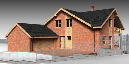 Large family house render on grey backround Stock Photo - 13943420