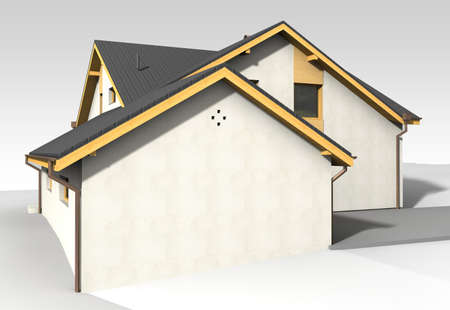 Large family house render on grey backround Stock Photo - 14021302