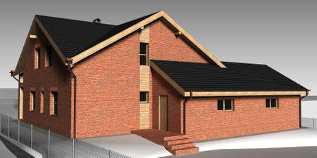 Large family house render on grey backround Stock Photo - 14021308