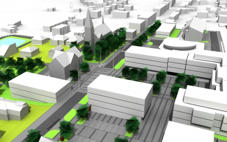render of a city model in green and white photo