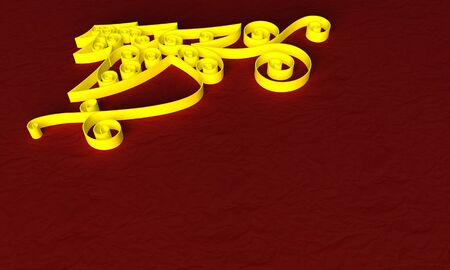 Christmas symbol background with golden objects on red