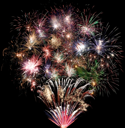 Set of new year fireworks in composition