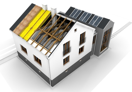 Render of an insulated family house Stock Photo - 15684906