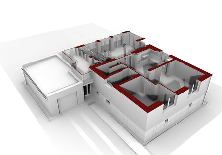 Render of an insulated family house  Stock Photo - 15684889