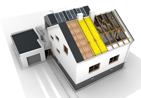 Render of an insulated family house