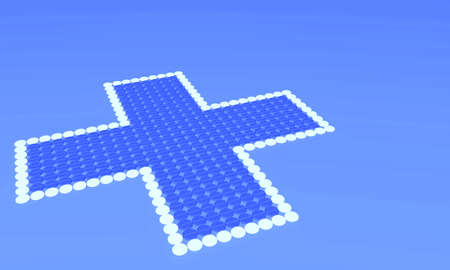 Cross made of small pills