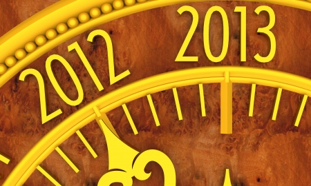 Golden clock with year 2013