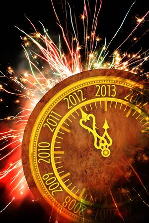 New year fireworks dark background Stock Photo