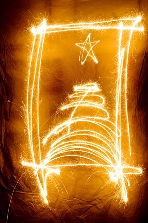 Christmas shiny gold sparkler tree