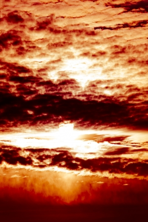 Beutiful sunset dramatic scenein red