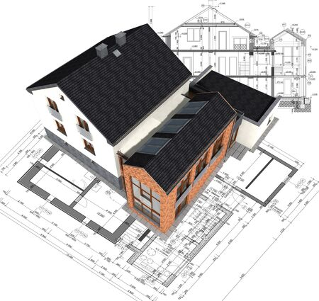 prefabricated: Architectural house model on plan