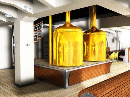 Restaurant interior render and illustration illustration