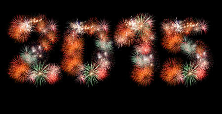 New Year fireworks on black Stock Photo