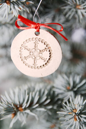 Silver and white christmas tree detail Stock Photo