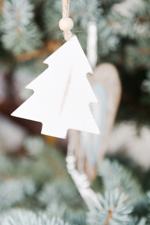 tree detail: Silver and white christmas tree detail Stock Photo