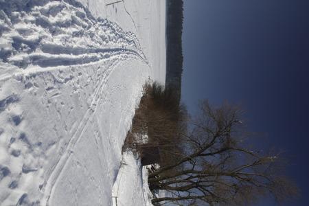 Winter landscape with ski track and sun Stock Photo