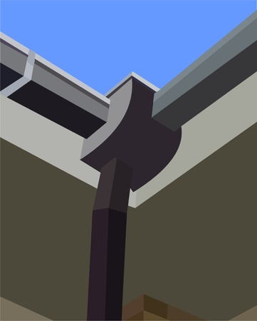 gutter: Gutter On The Roof In The Corner Illustration