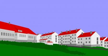 Czech village Bridlicna in the last century Ilustração