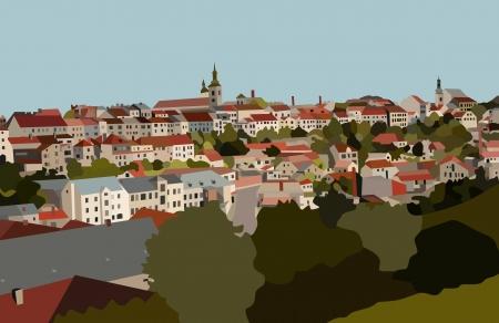 View of town of Mlada Boleslav 1911 Ilustração
