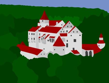 Medieval castle Pernstejn Ilustração