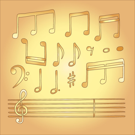 musical note vector in children style Vector