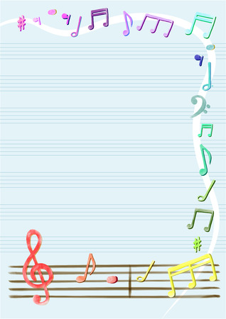 Musical notes vector in sketch notebook or frame, border. beautiful, colorful sweet background
