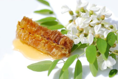 apparently: Acacia honey, organic honey Ingredients Stock Photo