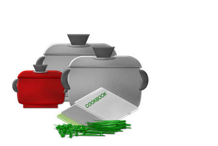 chive: cooking pot Stock Photo