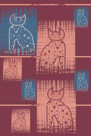 cat goddess: Bastet Cat pastel colors mythology series Stock Photo