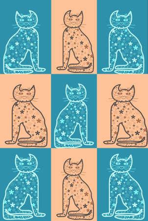 fertility goddess: Bastet Cat pastel colors mythology series Stock Photo