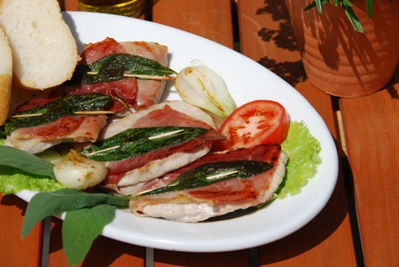 saltimbocca alla romana specialty preparation Stock Photo