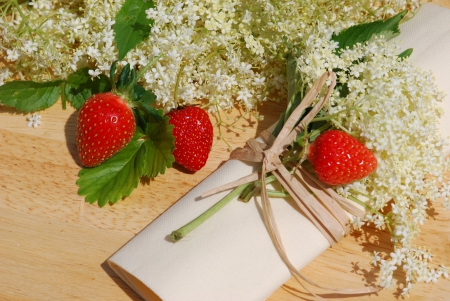 Elderflower herb table decorations  photo