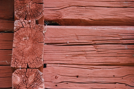 ceiling plate: Wood in typical Swedish red Stock Photo