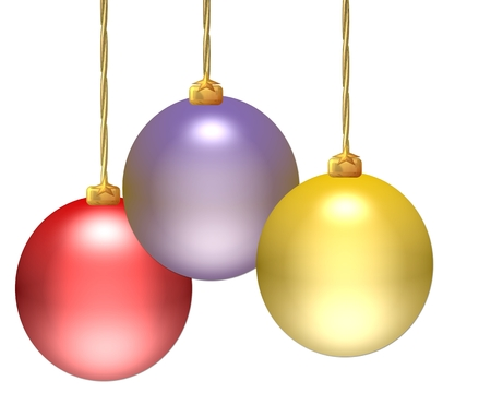 Christmas ornaments hanging over white background photo