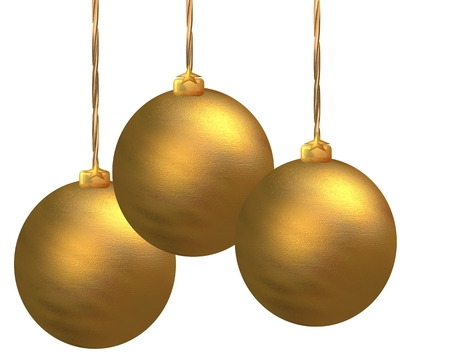 close p: Christmas ornaments hanging over white background