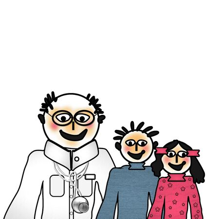 pediatrician: Visit to the pediatrician, funny graphic Stock Photo