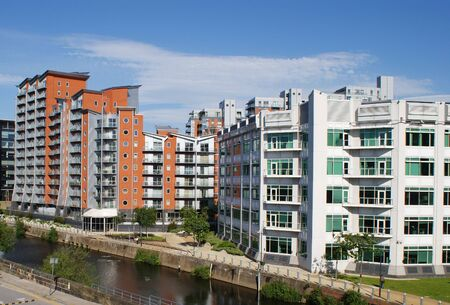 block of flats: Canal Side Apartments Stock Photo