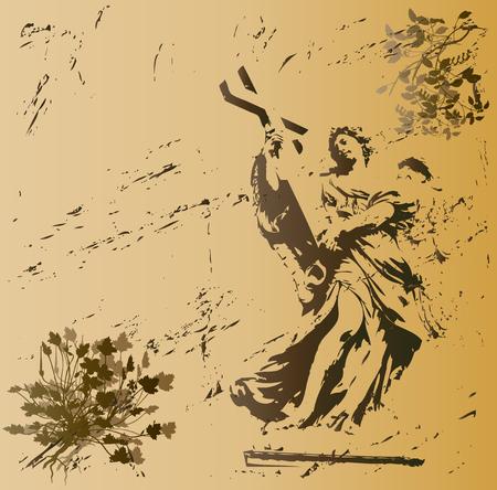 Grunge Angel Background Vector