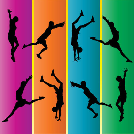 Hand Spring Gymnastic Silhouettes Vector