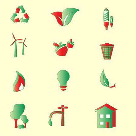 Set of Green Environment Icons Vector