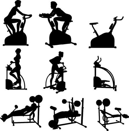 gym equipment: Femmina esercita il Silhouettes