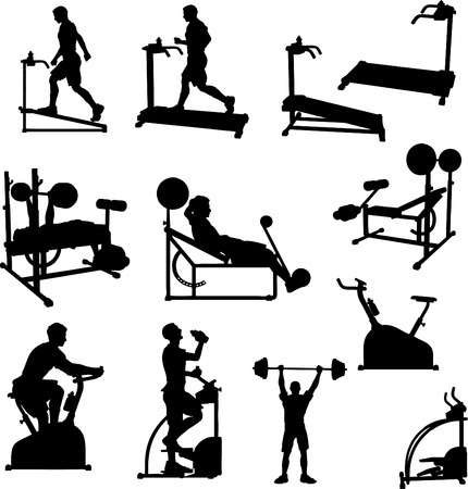 Male Excercise Silhouettes Stock Vector - 4454908