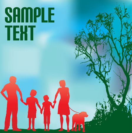 Family and a Green Environment Vector