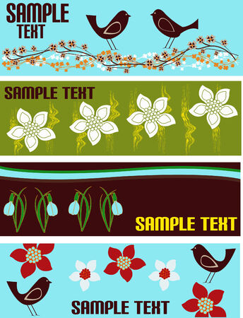Floral Web Banner Templates Stock Vector - 4503678