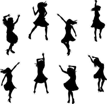 Femelle silhouettes de danseur de salsa Illustration