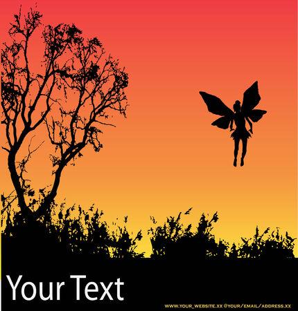 flier: Fairy Sunset Background Illustration