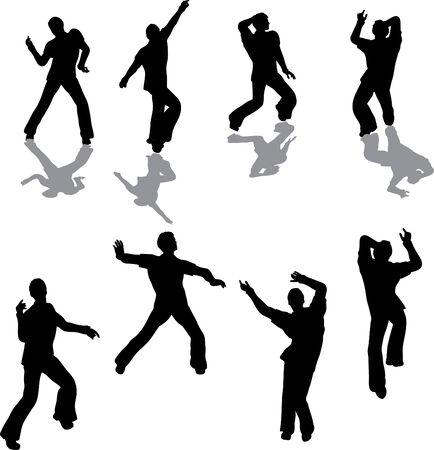 Male Salsa Dancer Silhouettes Stock Vector - 4503684
