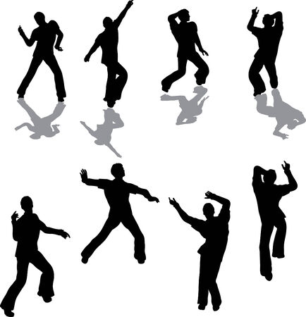 Male Salsa Dancer Silhouettes Illustration