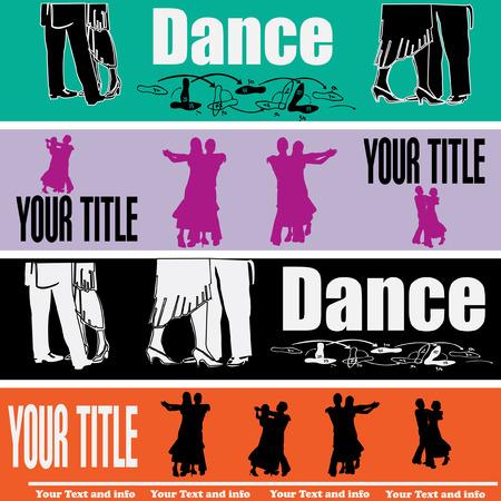 Ballroom Dancing Web Banner Templates Vector
